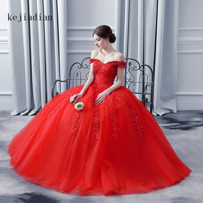 FLASH DEAL) 2019 Vintgae Ball Gowns Red Wedding Dresses ...