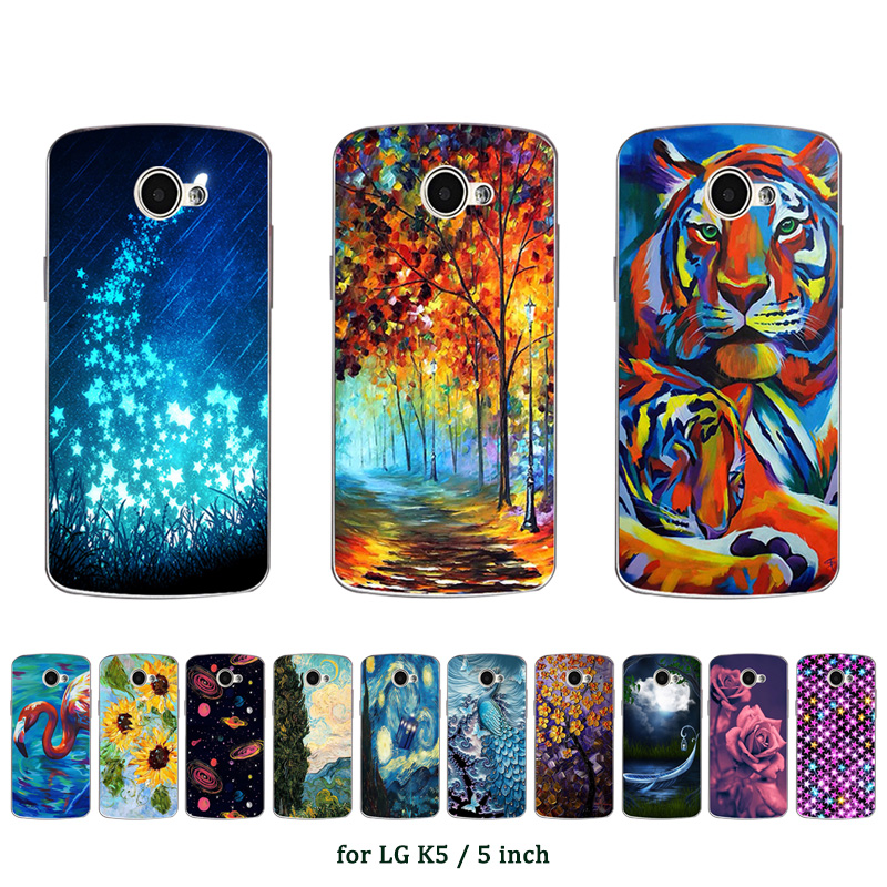 for LG K5 Case Cover Soft TPU Silicone Cover Coque Clear Cases Oill Printed Mobile Phone Bag for LG k5 K 5 <font><b>X220ds</b></font> Fundas image