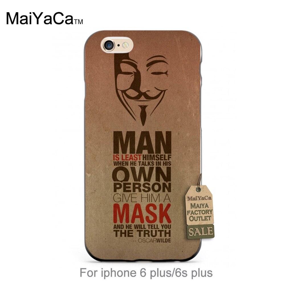 Negro tpu de silicona oscar wilde cita anonymus máscara encantadora accesorios d