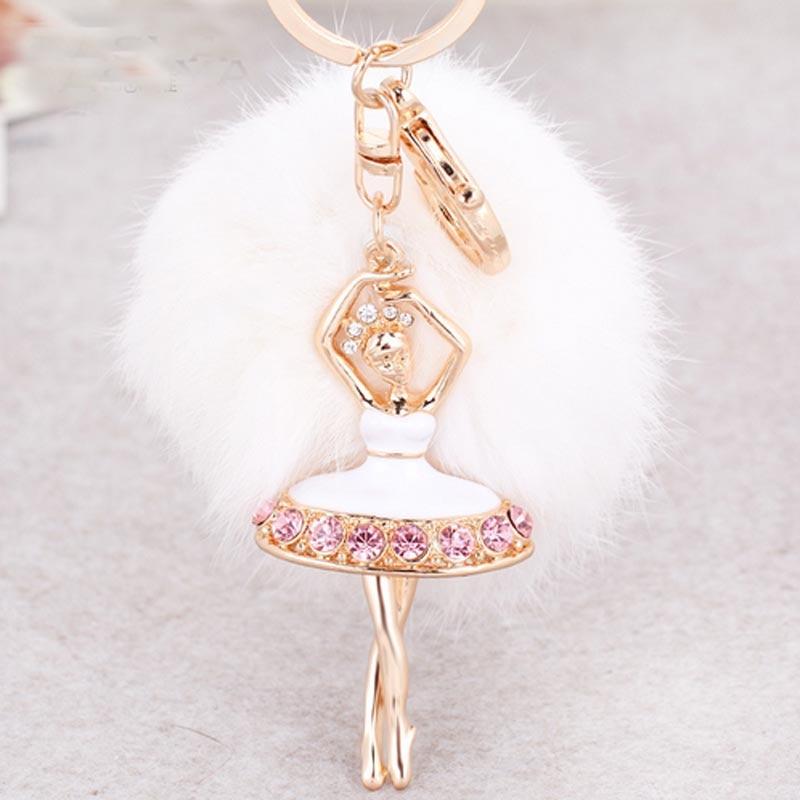 678fb7faff526 Moda Balerin Kız Kabarık Gerçek Tavşan Kürk toplu anahtarlık Araba  Anahtarlık Yüzük Dekorasyon Için Kadın Çanta Çanta Aksesuar CH558