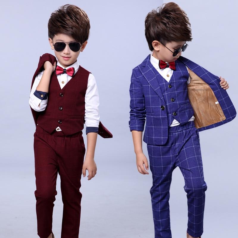Slim And Handsome Boys costume Jacket pant vest 3parts Wedding flower Boy Dress Plaid Kid Fashion Show Blazers Suit 2 12Yrs