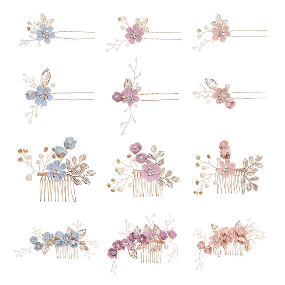 Luxury Blue Flower Hair Combs Headdress Prom Bridal Wedding Hair Accessories Gold Leaves Hair Jewelry Hair Pins
