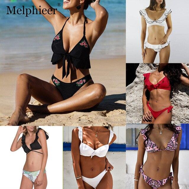 5961bea0cd31 € 9.87 35% de DESCUENTO|Aliexpress.com: Comprar Sexy traje de baño con  volantes Monokini traje de baño talla grande para mujer Micro Mini Bikini  ...