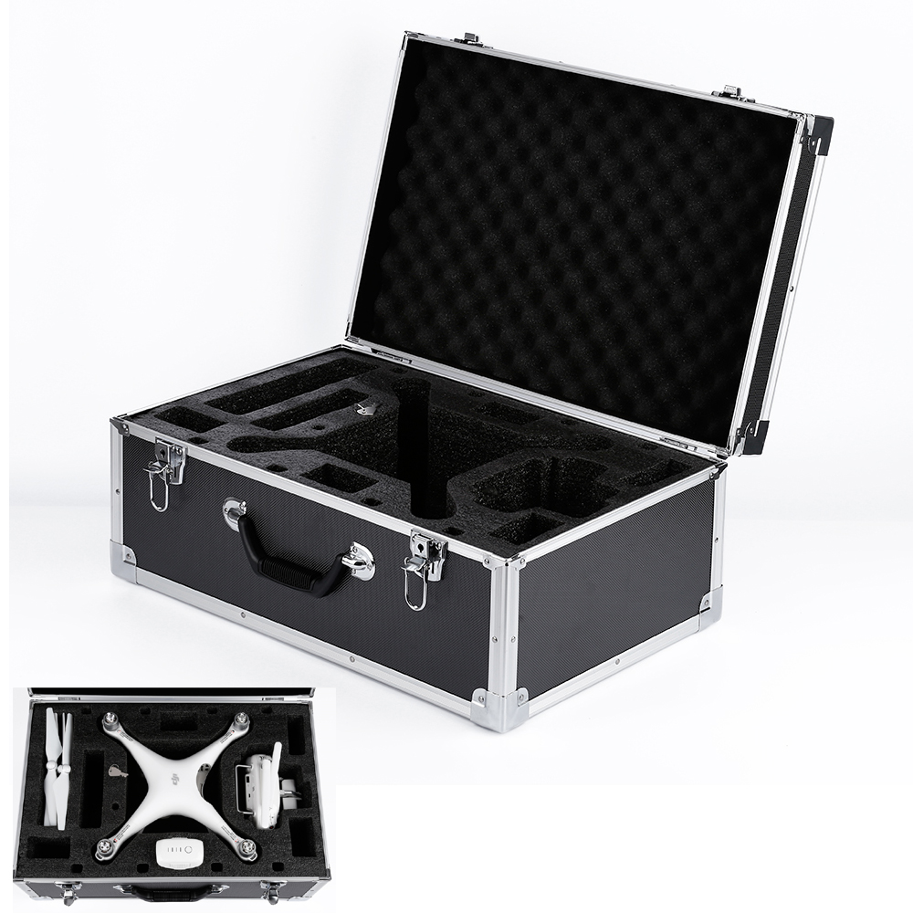 Professional Black Aluminum Protective Carrying Hard Case Trolley Box for DJI Phantom 4 projectdesign protective hard carrying pouch case for wii nunchuck controller red
