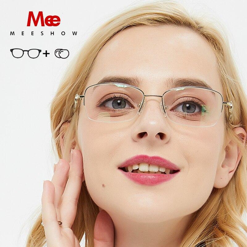 MEESHOW prescription snglasses Pure Titanium optical Glasses women stylish with Rhinestones sunglasses women myopia glasses