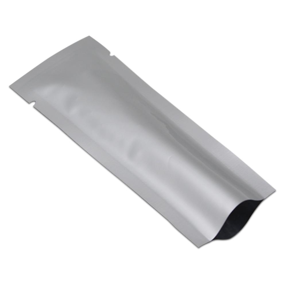 En gros DHL Top ouvert pur aluminium feuille thermoscellable Pack poche pour collation alimentaire emballage argent Mylar sacs de stockage longue taille