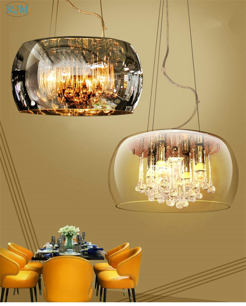 Gl Lamp Shade Crystal Pendant