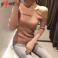 Gkfnmt сексуальный с открытыми плечами вязаный свитер женский элегантный однотонный тонкий пуловер и свитер 2018 осень зима Джемперы розовый