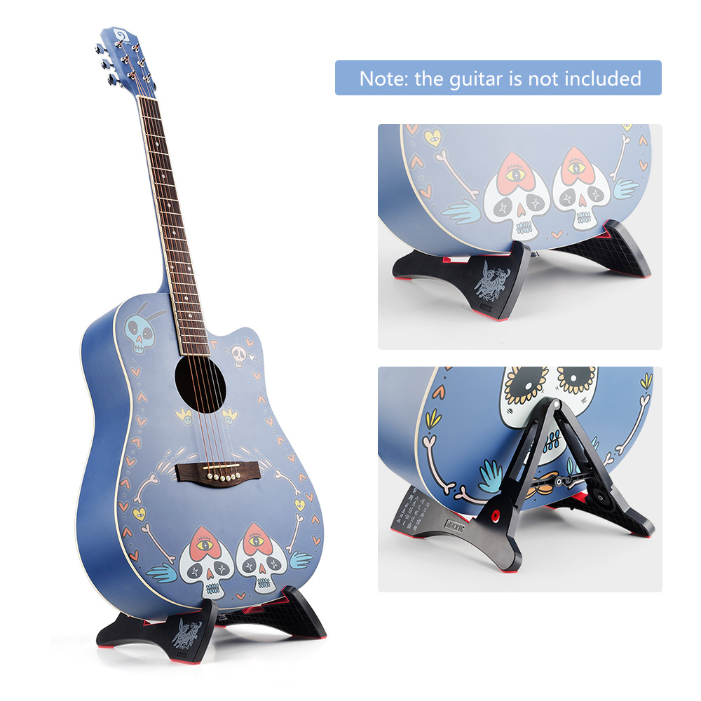 Folding Anti-slipping Guitar Stand Holder for Acoustic Electric Guitars, Bass, Ukulele, Banjolele violin with 6 Strings, 4 Picks