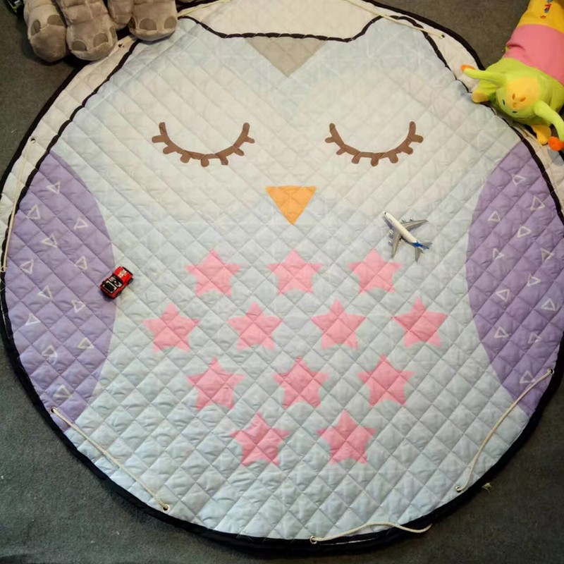 Washable Play Rugs: Portable Kids Baby Cute Round Play Mat Rugs Washable Toy