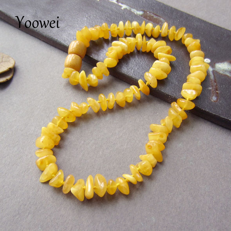 Yoowei Natural Irregular Amber Necklace for Baby Adult Genuine Beads Factory Jewelry Baltic Amber Teething Necklace Wholesale yoowei wholesale original amber necklace for kids adult natural beads baby amber teething necklace baltic amber jewelry 10 color