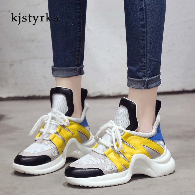 Kjstyrka 2018 Spring Women Sneakers Genuine Leather Casual Shoes For Women Fashion Lace-up Flat Platform Shoes