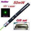 [RedStar]50mW 101 Green & Red Laser pen 532nm single point laser pen teacher pointer indicative pen Gift set include metal box