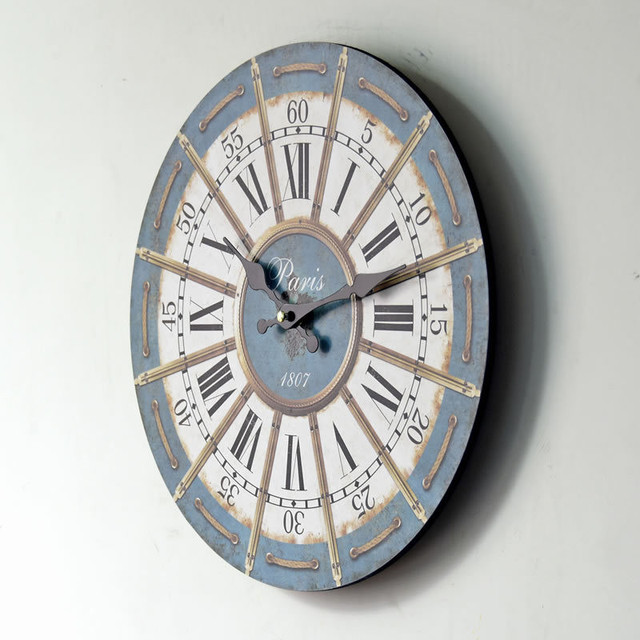 2017 New Design  Wood Wall Clocks Antique Vintage Home Kitchen Room Watch Time Clock Furnishing Wooden  Wall Clock Figurine