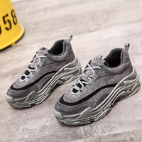 Lace Up Fashion Casual Platform Sneakers Sewing Platform Female Vulcanize Shoes Mixed Colors Winter Med Thick Soled Women Shoes