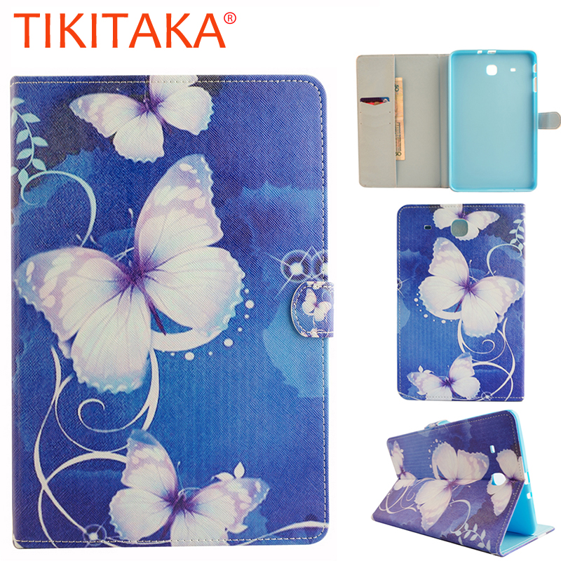 Luxury Stand PU Leather Flip For Samsung Galaxy Tab E 9.6 T560 T561 Tablet Case Fashion Cartoon Tower Butterfly Protector Cover bf luxury tablet case for samsung galaxy tab e 9 6 sm t560 sm t561 t560 t561 pu leather flip cute book stand cover protector