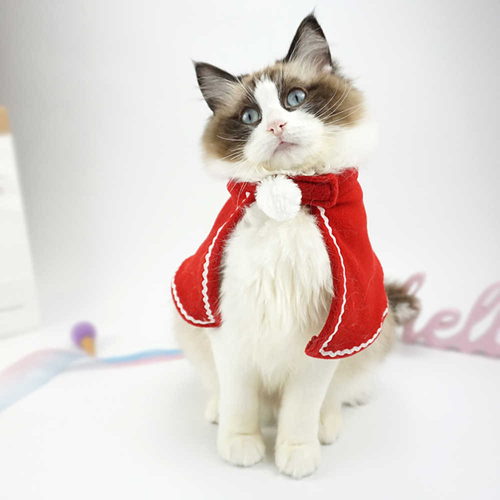 Christmas Cloak For Cats Red Xmas Suit For Dogs Cat Accessories Small Cloak For Kittens Halloween Dog Costume Pet Supplies S M L