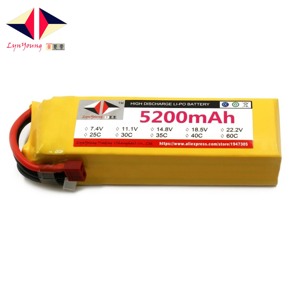 LYNYOUNG RC truck <font><b>lipo</b></font> battery <font><b>4S</b></font> 14.8V <font><b>5200mAh</b></font> 40C For Airplane quadcopter Helicopter drone car image