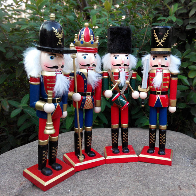 4pcs 30cm original wood nutcrackers soldier figurines christmas decorations for home crafts wooden nutcracker table decor - Christmas Soldier Decorations