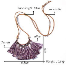 Vintage Statement Long Leather Rope Chain Boho Ethnic Tassel Pendant Necklace Choker Women Sweater Chain Clothing Accessories