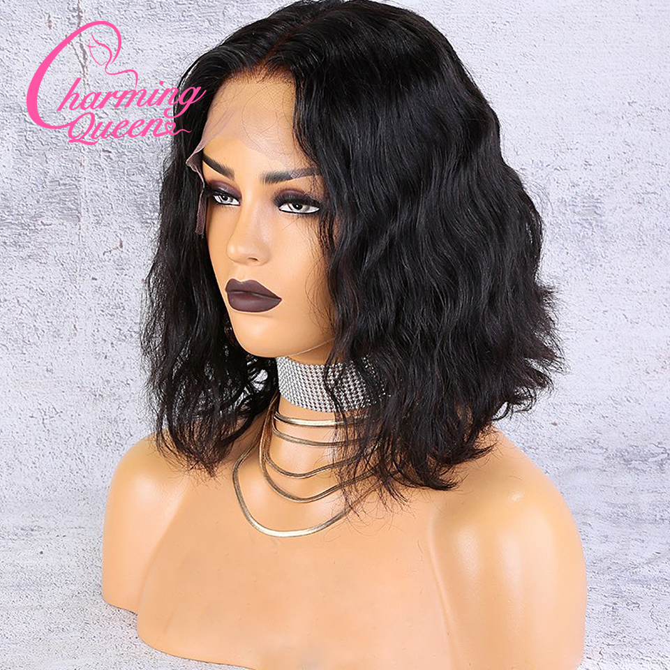 Wig Lace-Wigs Human-Hair Natural-Wave Full-Lace Brazilian Women Short for Black Re Plucked