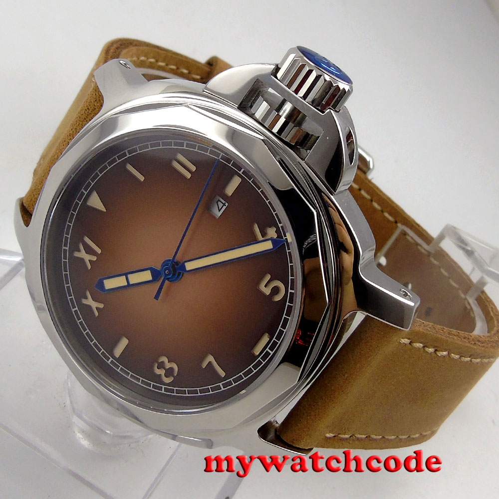 44mm Parnis coffee dial Sapphire glass date Miyota 8215 Automatic Mens watch 635 цена