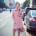 Мода розовый цвет однобортный turn down воротник кисточкой плащ женщины новое прибытие весна пальто для женщин FY2