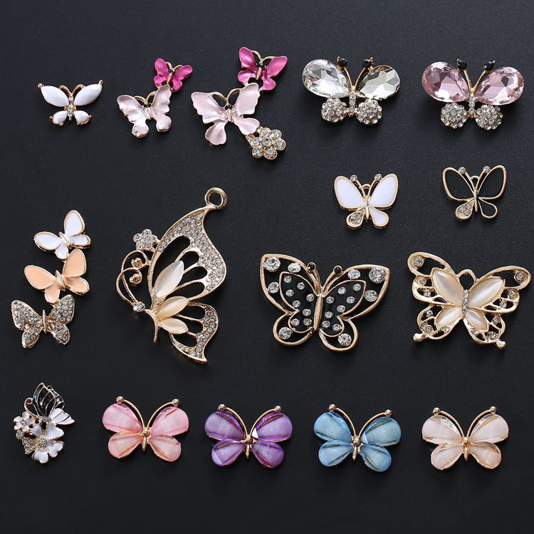 20Pcs/lot 16style Elegant Butterfly Rhinestone Buttons/Buckle Embellishment Button DIY Hair Accessories