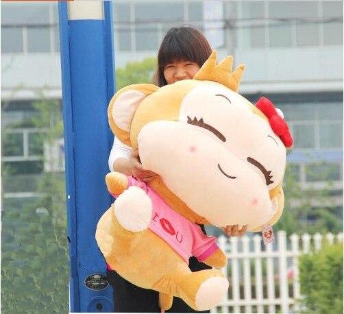 La peluche belle singe animal en peluche jouets mignon singe heureux jouet poupée cadeau d'anniversaire fille singes roses environ 70 cm