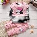 Processamento de apuramento primavera/outono conjuntos de roupas de bebê meninas crianças 3 pcs set crianças algodão meninas colete + camisa + conjunto de roupas calça