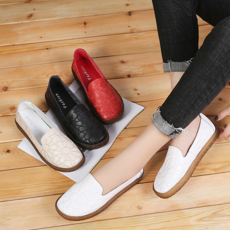 Image 5 - AARDIMI 2019 Floral Genuine Leather Casual Flats Shoes Woman Spring Autumn Espadrilles Women Mocassin Femme Zapatos Mujer-in Women's Flats from Shoes