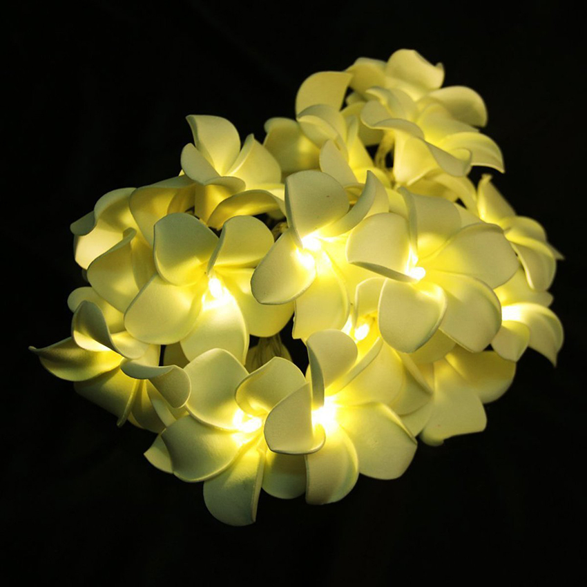 Creative DIY frangipani LED String Lights floral holiday lighting Wedding Christmas Event Party Bedroom decoration garland