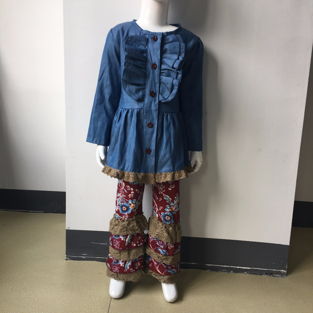New Fashion Denim Cardigan Baby Outfits With Button Children Remake Clothes Knitted Ruffle Pants Boutique Girl Clothing F117