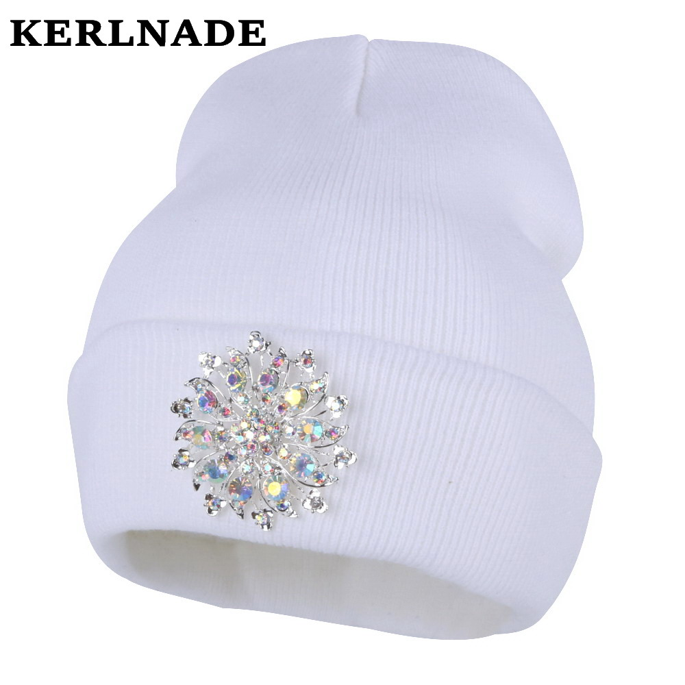 women fashion   beanies   bling luxury floral winter hat Girl casual   skullies   white navy black crystal new winter hats woman   beanie