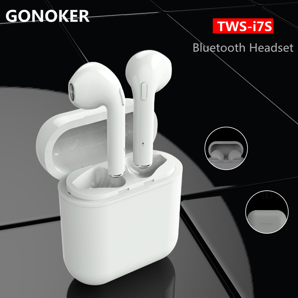 GONOKER i7S-TWS True Wireless Bluetooth Earbuds Stereo Headphones Twins Earpieces Music Headset for iphone X, 8 ,7 6s 6 5s