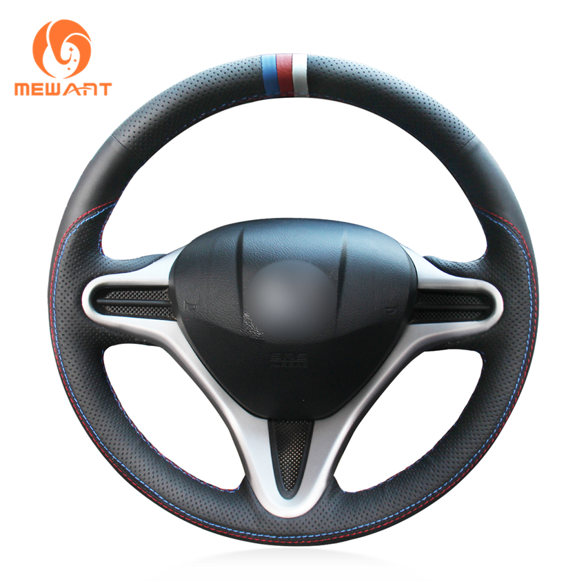MEWANT Black Genuine Leather Blue Red White Marker Car Steering Wheel Cover for Honda Fit 2009