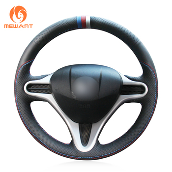 MEWANT Black Genuine Leather Blue Red White Marker Car Steering Wheel Cover for Honda Fit 2009-2013 City 2009-2013 Insight 2010