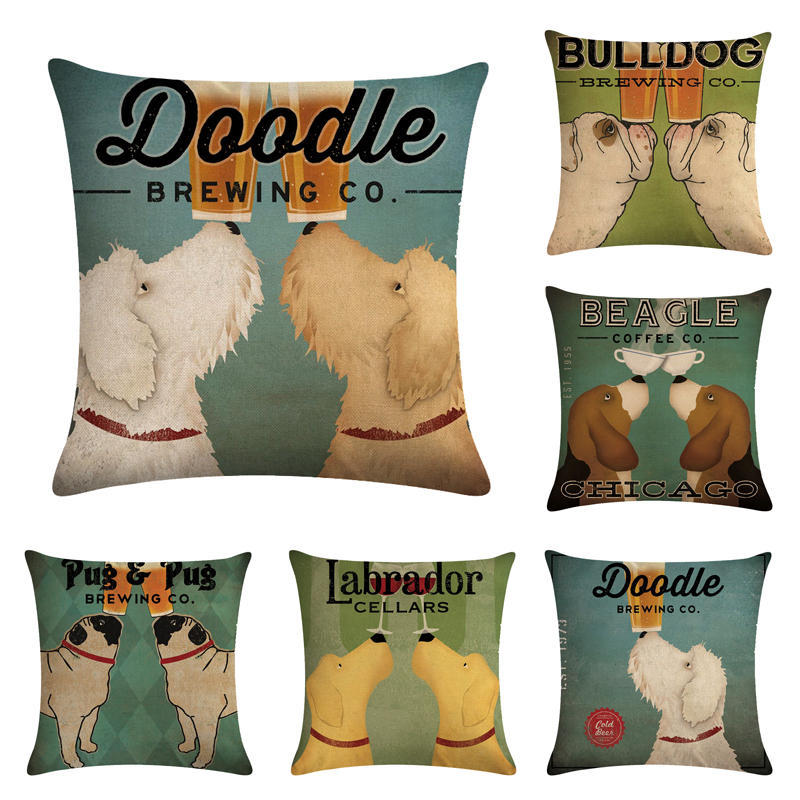 Wine Cup Dog Linen Decorative Throw Pillow Case for Sofa Valentine Love Cushion Cover 45x45cm Party Supplies Nordic Home Decor