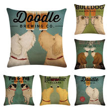 Wine Cup Dog Linen Decorative Throw Pillow Case for Sofa Valentine Love Cushion Cover 45x45cm Party Supplies Nordic Home Decor недорого