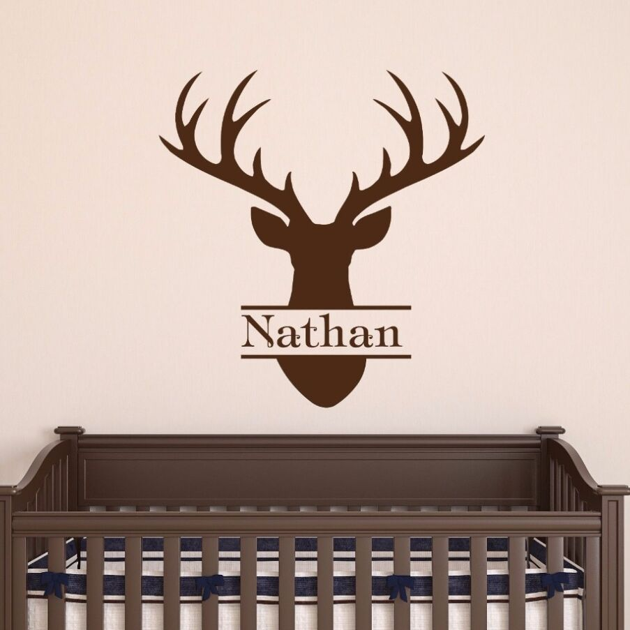 Personalized name wall decal nursery decor deer head style wall sticker custom boy name vinyl wall mural deer home decor ay337