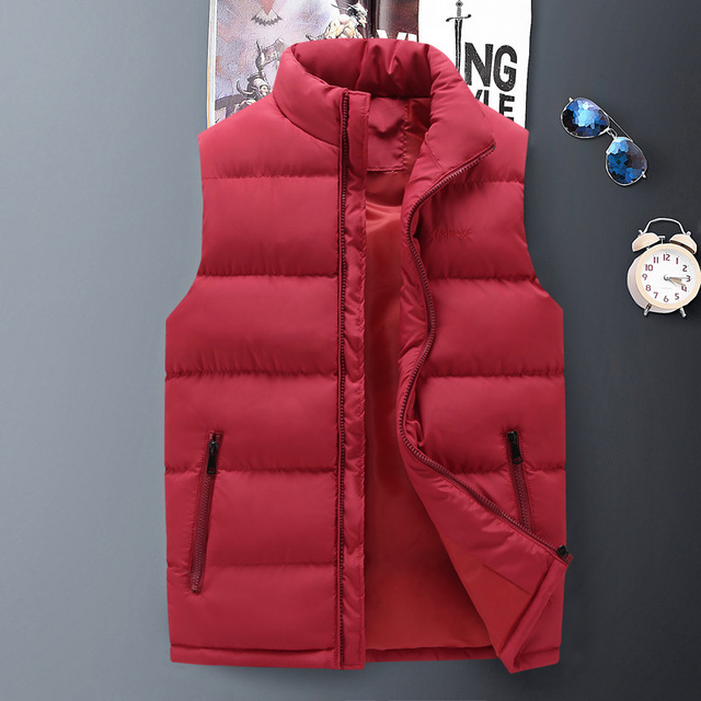 9d6f290dbc7 2018 Autumn Winter New Men Warm Vest Sleeveless Jacket Men s Fashion Casual  Waistcoat Handsome Stand collar Down Vests Coat Male