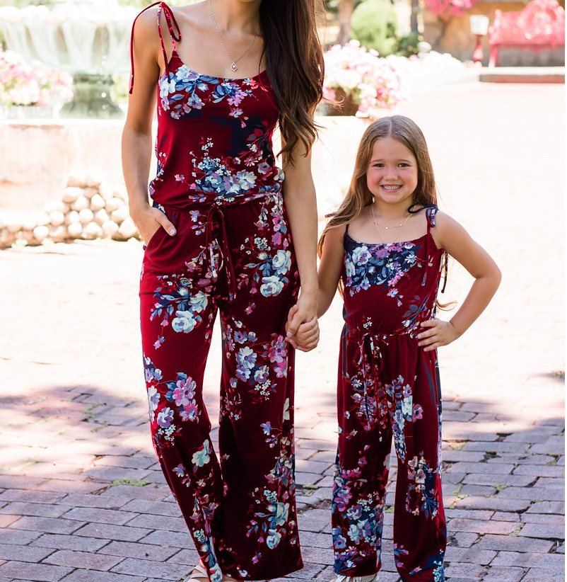 Mother Daughter Dresses Tank Overall Pants Mommy And Me Clothes Family Matching Outfits Look Mum Mom And Baby One-piece Trousers