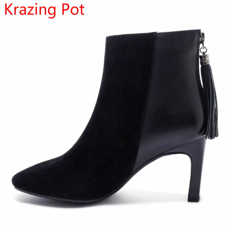 2018 Superstar Sheep Suede Zipper Fringe Decoration Office Lady High Heels Nightclub Solid Square Toe Sexy Women Ankle Boots L0a 2018 superstar cow suede streetwear square toe zipper high heels winter boots keep warm office lady ankle boots for women l50