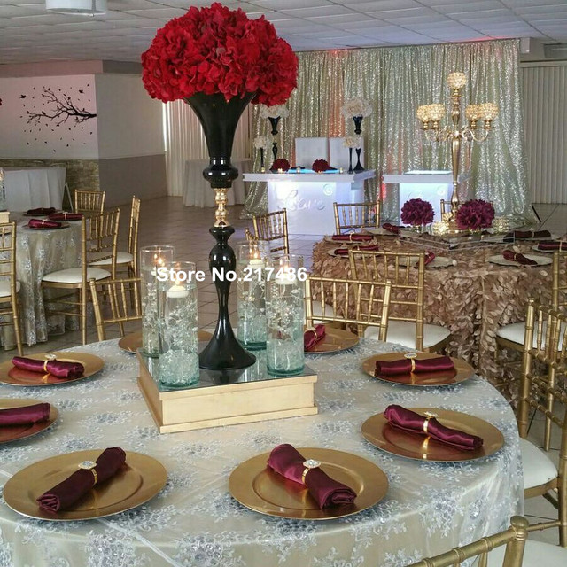Black Vase And Flower Centerpiece Iron Trumpet For Weddings