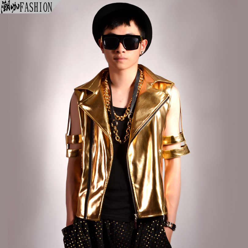 c4dd4c37cf Motorcycle Pu Leather Men s Fashion Jacket Gold Cutout Short-Sleeve  Outerwear Male Singer Dancer DJ