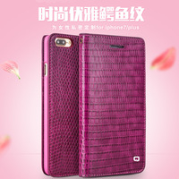 For Iphone 7 Plus QIALINO Brand Crocodile Pattern Real Natural Cow Skin Genuine Leather Lady Girl