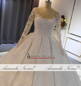 Image 2 - robe de soiree 2020 long sleeves satin wedding dress with lace sleeves real work