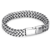 HIP Double Foxtail Box Link Chain Bracelet Silver Color 316L Stainless Steel Bracelets For Men Jewelry