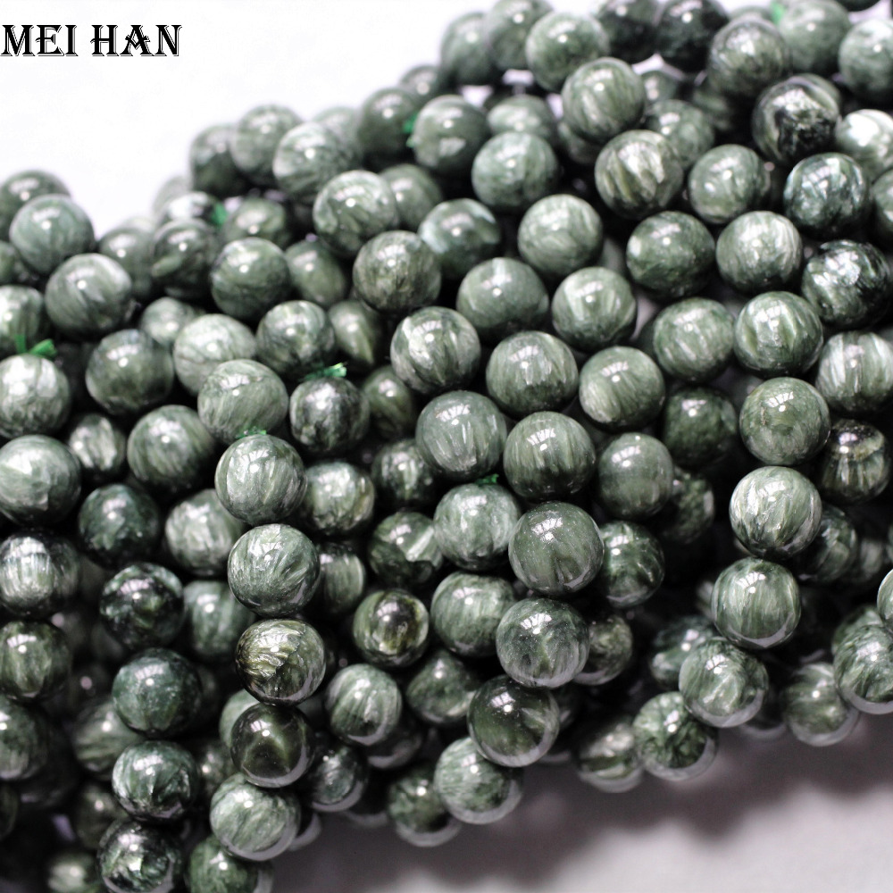 Natural A+ russian seraphinite bracelet 8 8.5mm (22 beads/set/16g) smooth round stone wholesale beads for jewelry DIY design-in Beads from Jewelry & Accessories