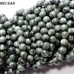 Image 3 - Natural A+ russian seraphinite bracelet 8 8.8mm (1 bracelet/set) smooth round stone wholesale beads for jewelry DIY design
